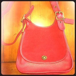 Vintage New Coach Berkeley Saddle Bag in RED!!!!!